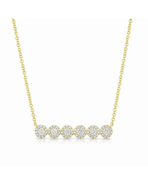 Anne Sisteron | Metallic 14kt Yellow Gold Diamond Circle Bar Necklace | Lyst