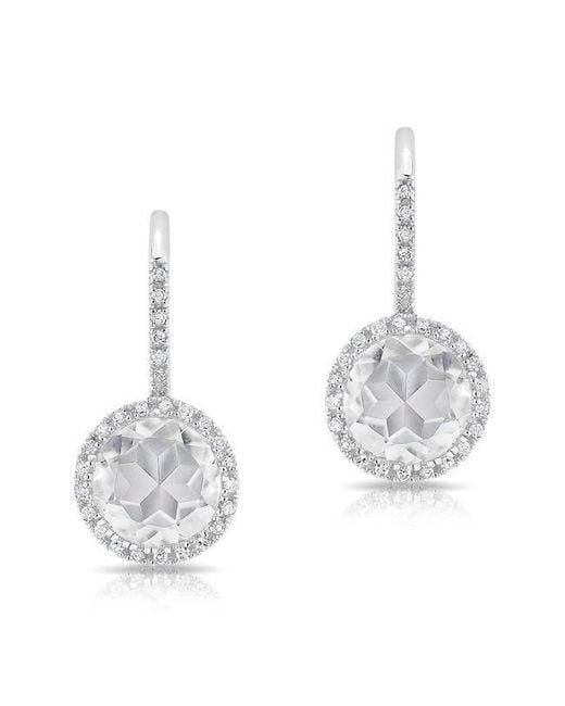 Anne Sisteron - 14kt White Gold Diamond White Topaz Round Wireback Earrings - Lyst