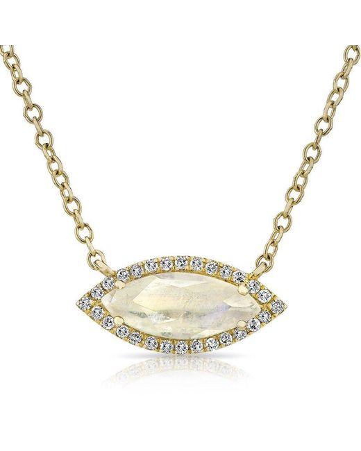 Anne Sisteron   Metallic 14kt Yellow Gold Moonstone Diamond Mini Marquis Necklace   Lyst