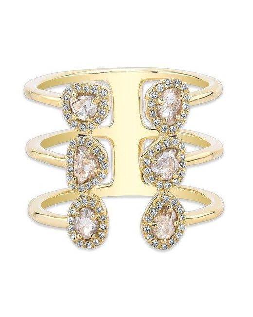 Anne Sisteron - Metallic 14kt Yellow Gold Diamond Slice Electric Ring - Lyst
