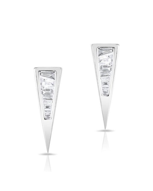 Anne Sisteron - Multicolor 14kt White Gold Baguette Diamond Triangle Stud Earrings - Lyst