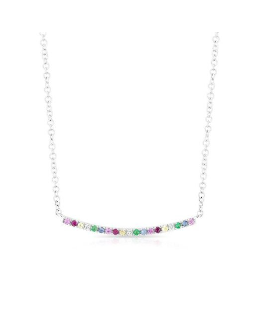 Anne Sisteron - Metallic 14kt White Gold Rainbow Diamond Curved Bar Necklace - Lyst