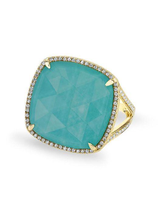 Anne Sisteron - Blue 14kt Yellow Gold Diamond Turquoise Laguna Triplet Cushion Cut Cocktail Ring - Lyst