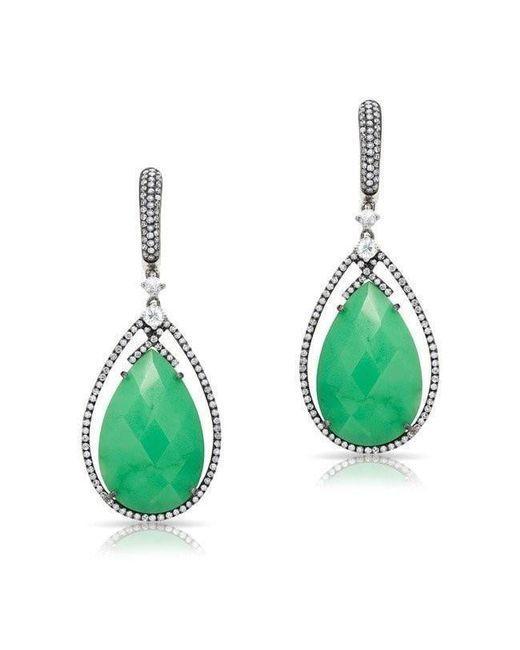 Anne Sisteron   Green 14kt Oxidized White Gold Chrysoprase Diamond Drop Earrings   Lyst
