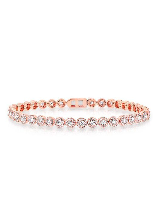 Anne Sisteron - Pink 14kt Rose Gold Diamond Love Collection Luxe Tennis Bracelet - Lyst