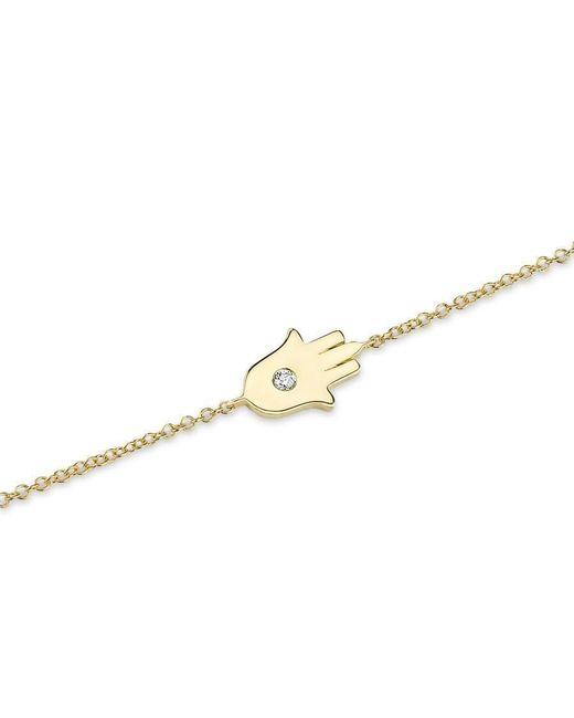 Anne Sisteron | Metallic 14kt Yellow Gold Solitaire Diamond Hamsa Chain Bracelet | Lyst