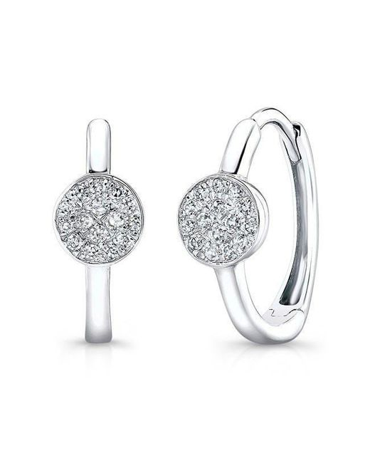 Anne Sisteron | Metallic 14kt White Gold Diamond St. Tropez Disc Huggie Earrings | Lyst