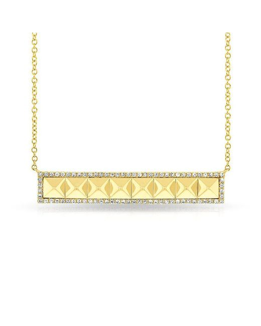 Anne Sisteron - Metallic 14kt Yellow Gold Diamond Pyramid Bar Necklace - Lyst