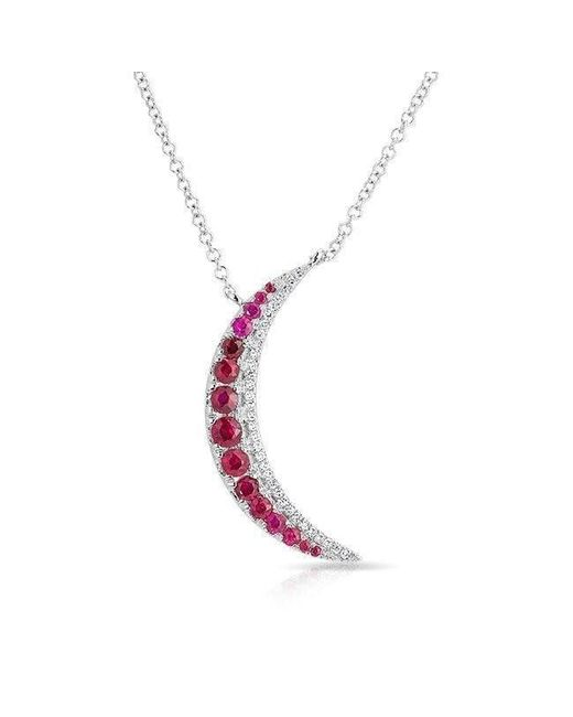 Anne Sisteron - Multicolor 14kt White Gold Ruby Moon Diamond Necklace - Lyst