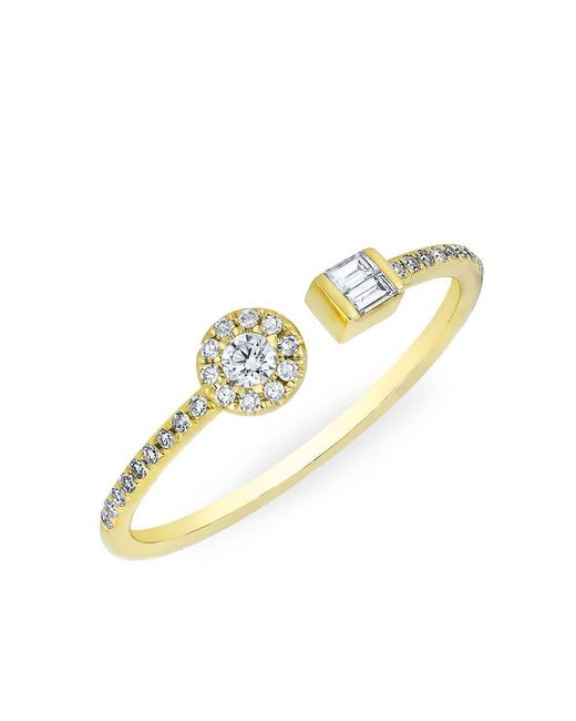 Anne Sisteron - Metallic 14kt Yellow Gold Diamond Baguette And Disc Naima Ring - Lyst