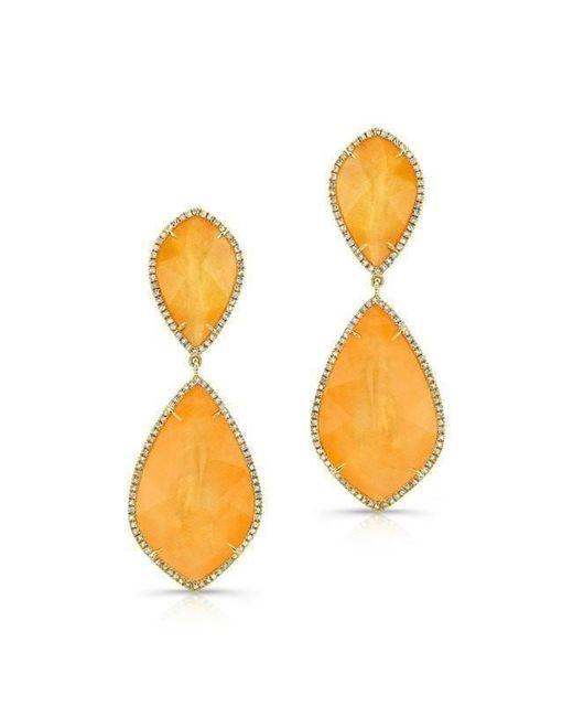 Anne Sisteron - Multicolor 14kt Yellow Gold Orange Mother Of Pearl Diamond Earrings - Lyst
