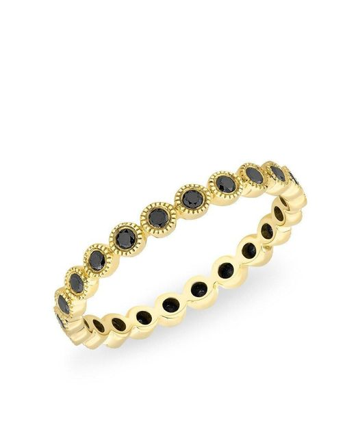 Anne Sisteron | Metallic 14kt Yellow Gold Bezel Set Black Diamond Ring | Lyst
