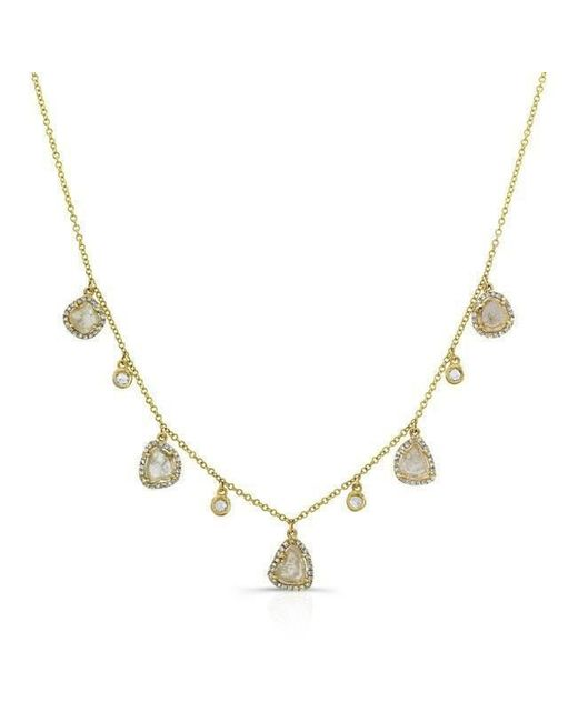 Anne Sisteron | Metallic 14kt Yellow Gold Diamond Slice And White Sapphire Necklace | Lyst