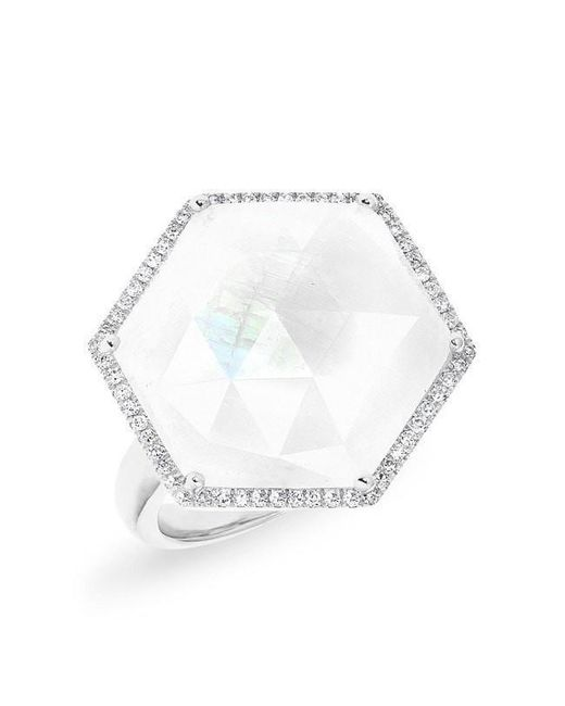 Anne Sisteron | Multicolor 14kt White Gold Moonstone Diamond Hexagon Cocktail Ring | Lyst
