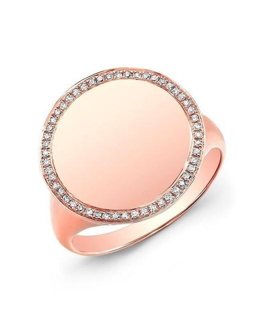 Anne Sisteron - Pink 14kt Rose Gold Diamond Solid Circle Ring - Lyst