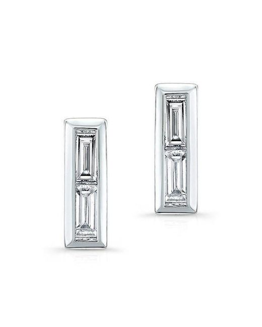 Anne Sisteron - Multicolor 14kt White Gold Diamond Double Baguette Bar Earrings - Lyst