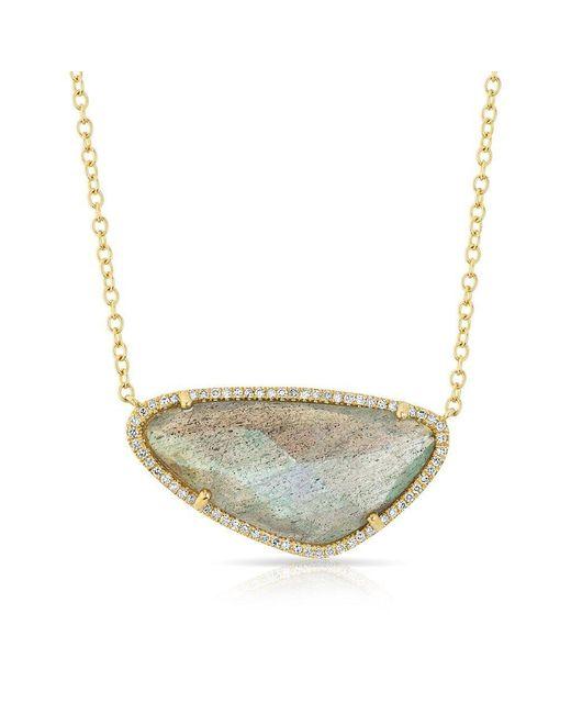 Anne Sisteron - Metallic 14kt Yellow Gold Diamond Organic Labradorite Necklace - Lyst