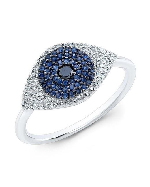 Anne Sisteron | Multicolor 14kt White Gold Diamond And Blue Sapphire Evil Eye Ring | Lyst