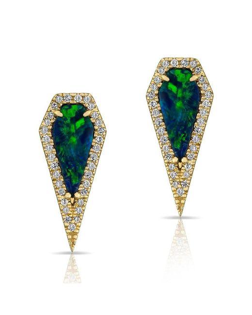 Anne Sisteron | Multicolor 14kt Rose Gold Opal Diamond Shield Earrings | Lyst