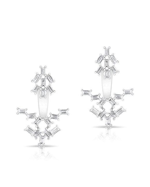 Anne Sisteron | Metallic 14kt White Gold Baguette Diamond Anastasia Floating Earrings | Lyst