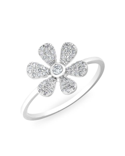 Anne Sisteron - Metallic 14kt White Gold Diamond Single Daisy Ring - Lyst