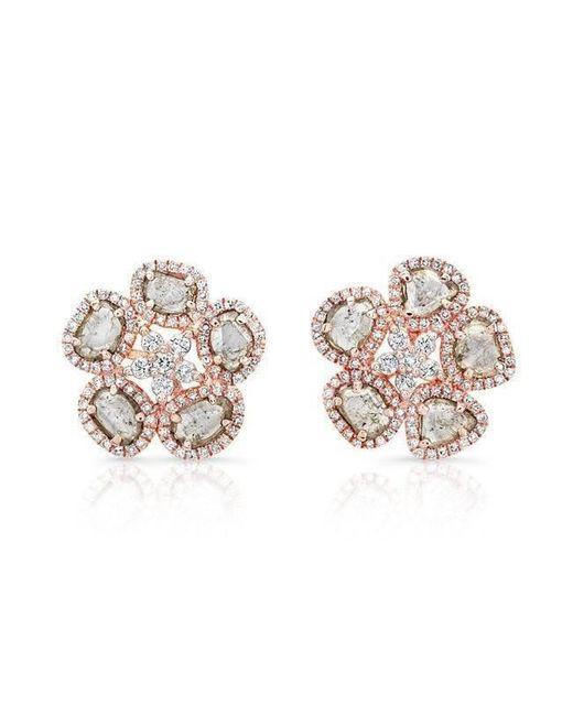 Anne Sisteron - Metallic 14kt Rose Gold Diamond Slice Mae Flower Earrings - Lyst