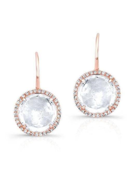 Anne Sisteron - Metallic 14kt Rose Gold White Topaz Diamond Round Earrings - Lyst