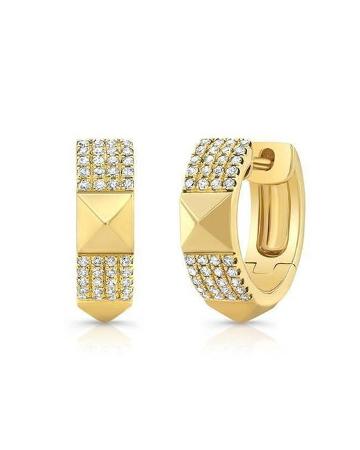 Anne Sisteron | Metallic 14kt Yellow Gold Diamond Pyramid Huggies | Lyst
