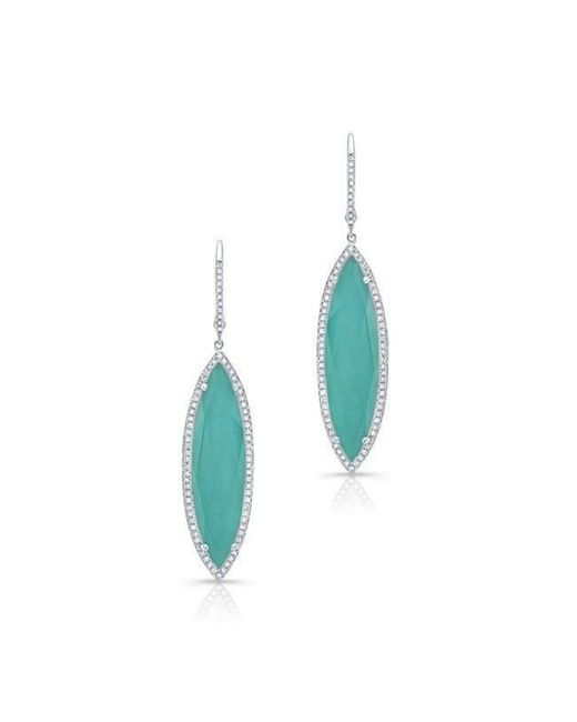Anne Sisteron - Blue 14kt White Gold Diamond Turquoise Turquesa Marquis Earrings - Lyst