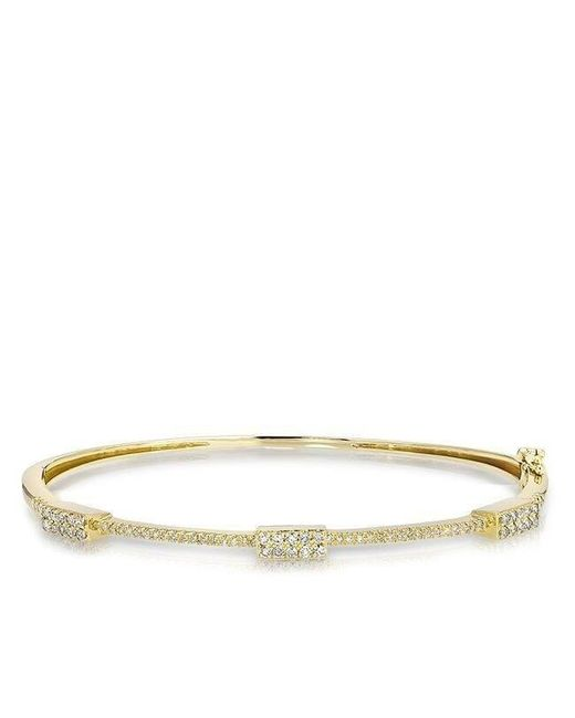 Anne Sisteron - Metallic 14kt Yellow Gold Triple Brick Diamond Bangle - Lyst