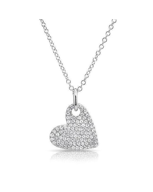 Anne Sisteron - Multicolor 14kt White Gold Hanging Heart Diamond Necklace - Lyst