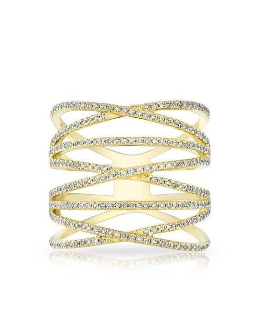 Anne Sisteron | Metallic 14kt Yellow Gold Diamond Multiband Riverly Ring | Lyst