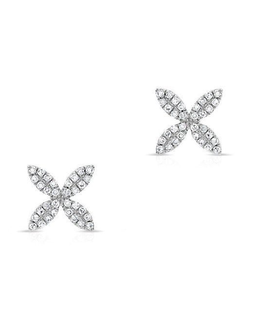 Anne Sisteron - Metallic 14kt White Gold Diamond Flower Earrings - Lyst