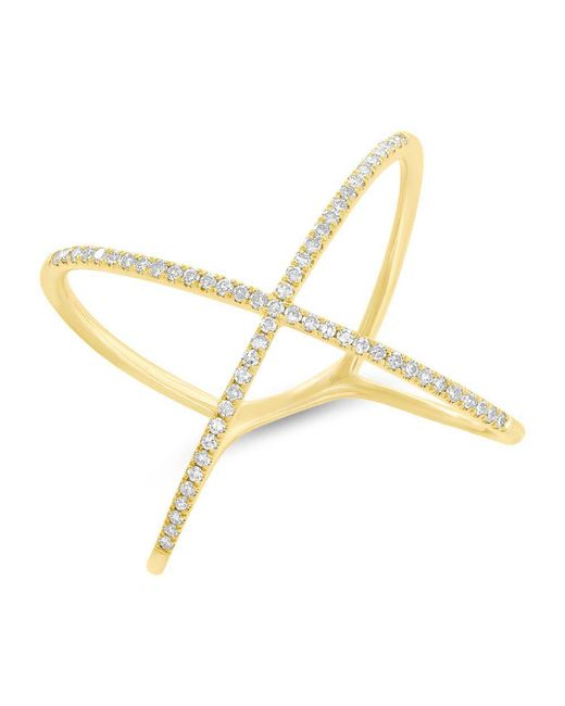 Anne Sisteron - Metallic 14kt Yellow Gold Diamond X Ring - Lyst