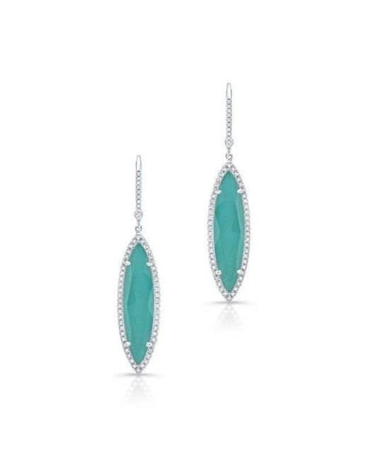Anne Sisteron - Blue 14kt White Gold Diamond Turquoise Turquesa Small Marquis Earrings - Lyst