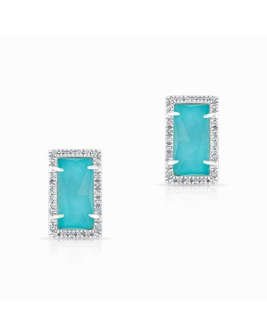 Anne Sisteron - Blue 14kt White Gold Diamond Turquoise Sara Stud Earrings - Lyst