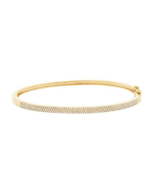 Anne Sisteron - Metallic 14kt Yellow Gold Diamond Brielle Half Pave Diamond Bangle - Lyst