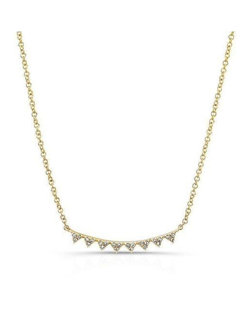 Anne Sisteron - Metallic 14kt Yellow Gold Diamond Triangle Crescent Necklace - Lyst