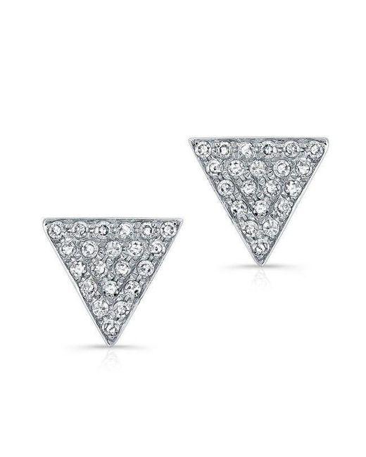Anne Sisteron - Metallic 14kt White Gold Diamond Medium Triangle Emma Stud Earrings - Lyst