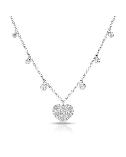 Anne Sisteron - Metallic 14kt White Gold Diamond Heart And Droplets Necklace - Lyst