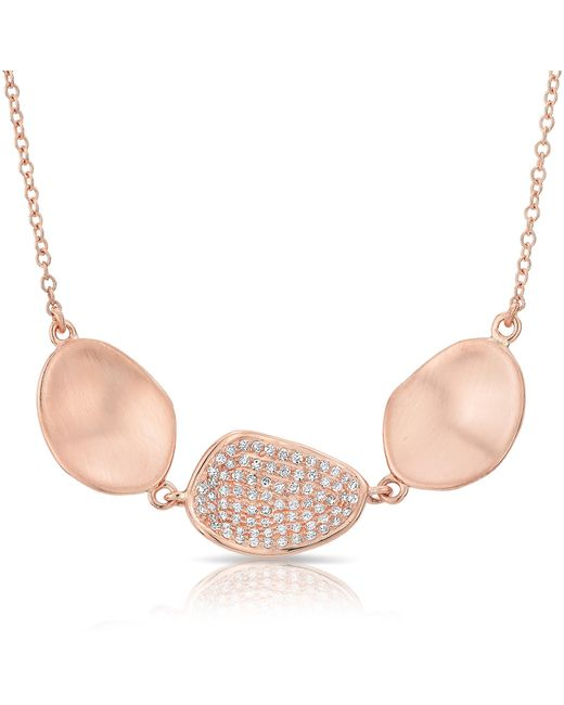 Anne Sisteron | Pink 14kt Rose Gold Diamond Trios Petal Necklace | Lyst
