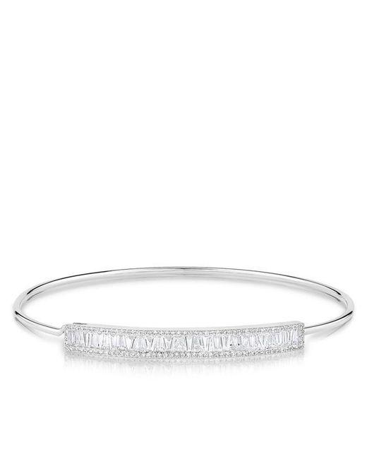 Anne Sisteron | Metallic 14kt White Gold Diamond Baguette Latch Bracelet | Lyst