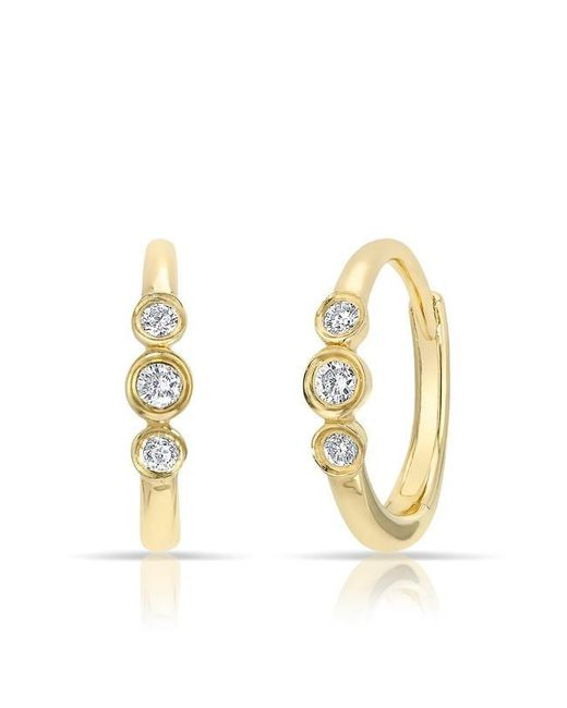 Anne Sisteron | Metallic 14kt Yellow Gold Diamond Hazel Bezel Huggie Earrings | Lyst