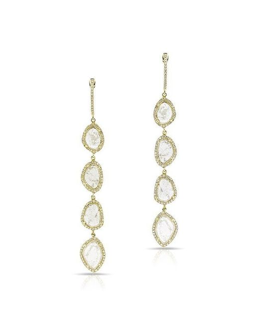 Anne Sisteron | Metallic 14kt Yellow Gold Quadruple Diamond Slice Earrings | Lyst