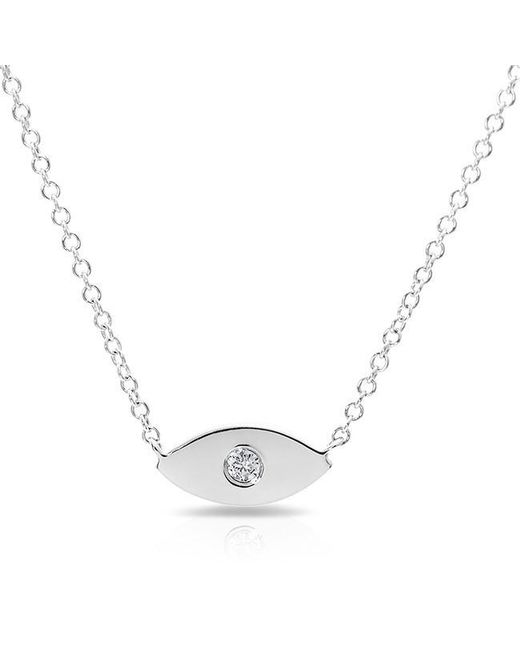Anne Sisteron | Metallic 14kt White Gold Diamond Evil Eye Necklace | Lyst