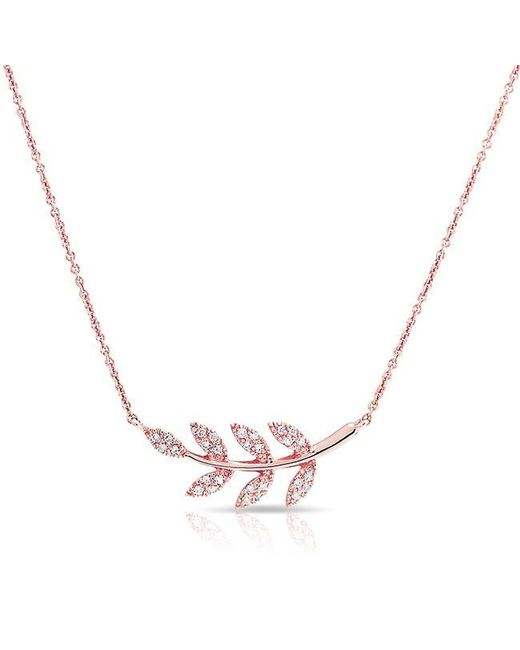 Anne Sisteron | Pink 14kt Rose Diamond Branch Crescent Necklace | Lyst