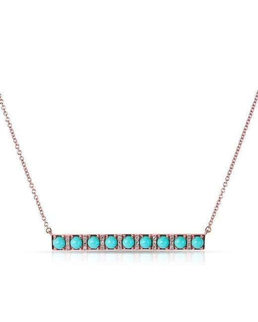 Anne Sisteron | Blue 14kt Rose Gold Turquoise Diamond Bar Necklace | Lyst