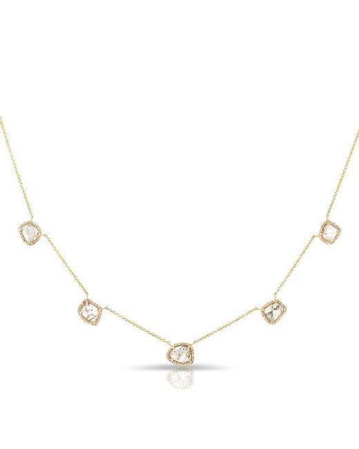 Anne Sisteron | Metallic 14kt Yellow Gold 5 Diamond Slice Necklace | Lyst