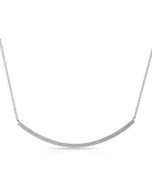Anne Sisteron | Metallic 14kt White Gold Diamond Double Sleek Crescent Necklace | Lyst