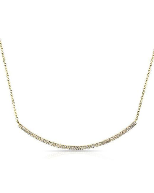 Anne Sisteron | Metallic 14kt Yellow Gold Diamond Double Sleek Crescent Necklace | Lyst